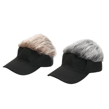 Funny Men Adjustable Flair Hair Visor Casquette Hat Golf Fashion Wig Cap Sun Shading Cap Brown Grey Brown Mens Hat