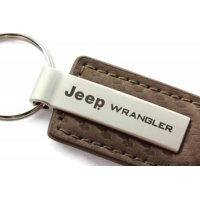AutoGold Jeep Wrangler Brown CF Carbon Fiber Leather Key Chain Ring Tag Fob Lanyard Metal KC1551.WRA