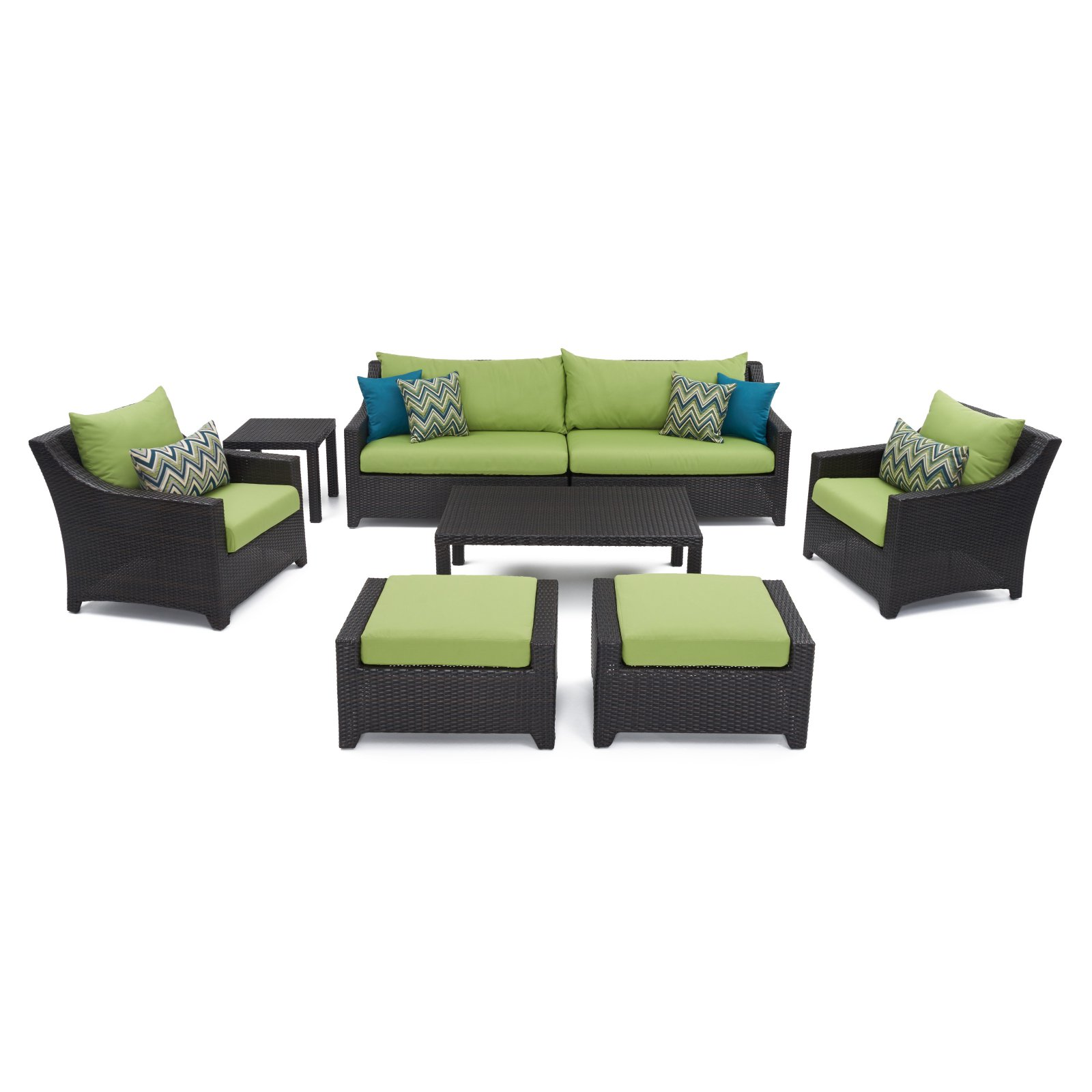 RST Brands Deco 8 Piece Sofa with Club Chair and Ottoman Set