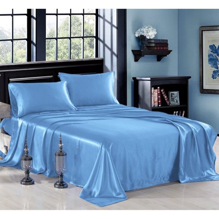 Ultra Soft Silky Satin Bed Sheet Set With Pillowcase 3 Or 4 Piece