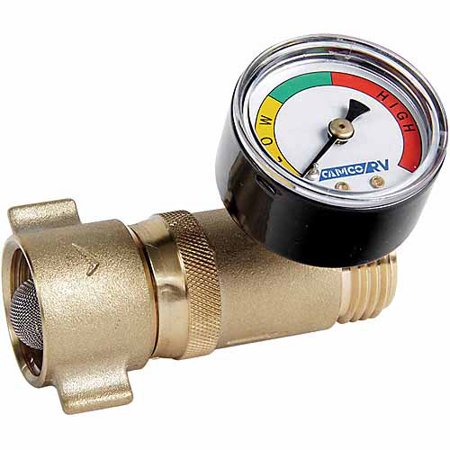 Brass Pressure Regulator - Camco Brass Water Pressure Regulator with Gauge- Helps Protect RV Plumbing and Hoses from High-Pressure City Water - Easy Read Gauge, Lead Free (40064)