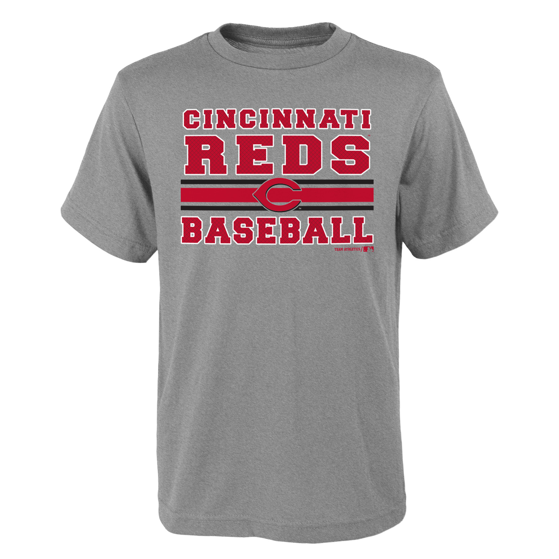 MLB Cincinnati REDS TEE Short Sleeve Boys OPP 90% Cotton 10% Polyester Gray Team Tee 4-18