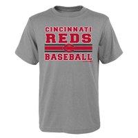 MLB Cincinnati REDS TEE Short Sleeve Boys OPP 90% Cotton 10% Polyester Gray Team Tee 4-18