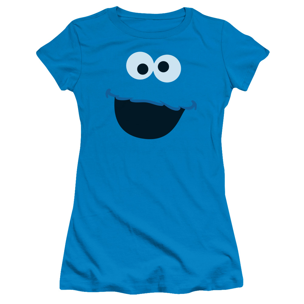 Sesame Street Cookie Monster Face Juniors Short Sleeve Shirt