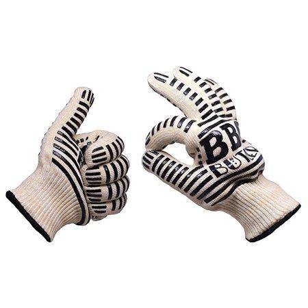 Flame Resistant Gloves - BBQ Butler Premium Heat & Flame Resistant Oven Gloves (Pack of 2 Gloves)