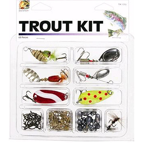 Danielson Trout Kit with Lures and Tackle, 68 Pieces