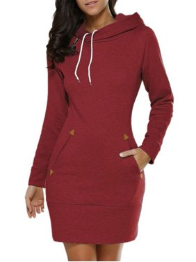 Product Image Women Hooded Hoody Dress Winter Casual Jumper Long Sleeve Pullover Tops Sweater Sweatshirt