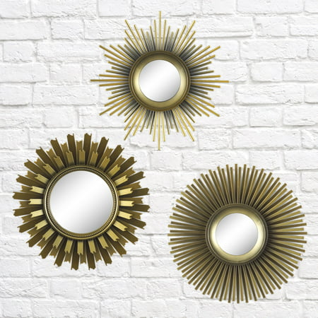 Better Homes & Gardens 3-Piece Round Sunburst Mirror Set in Gold Finish - Own Fairy Mirror