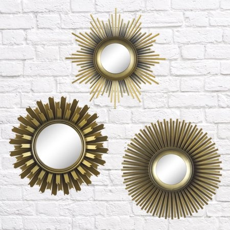Better Homes & Gardens 3-Piece Round Sunburst Mirror Set in Gold Finish