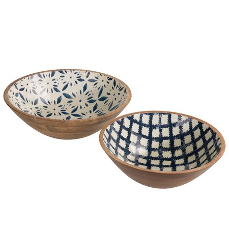 Mud Pie Dessert - Mud Pie Bungalow Wood & Enamel Serving Bowl (Set of 2)