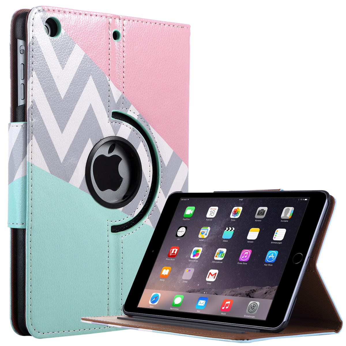 iPad Mini Case,iPad Mini 2 Case,iPad mini 3 Case,ULAK 360 Degree Rotating Synthetic Leather Stand Case Smart Cover for Apple iPad Mini 1/2/3 with Auto Sleep/Wake Function