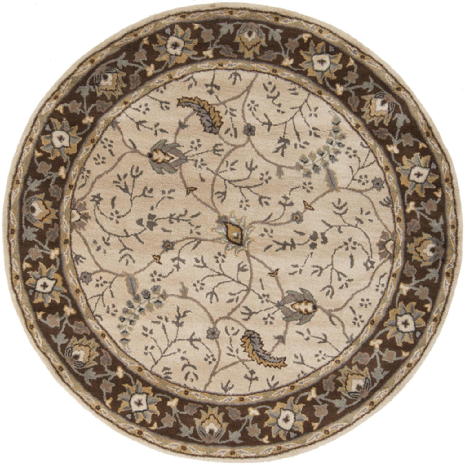8' Theodorius Desert Sand and Brown Hand Tufted Round Wool Area Throw Rug