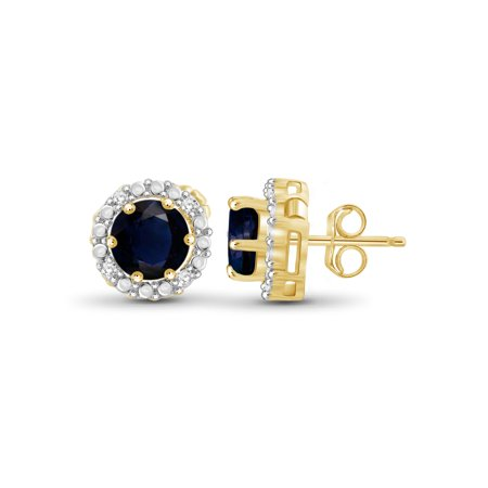 2-1/2 Carat T.G.W. Sapphire and White Diamond Accent 14kt Gold Over Silver Halo Earrings