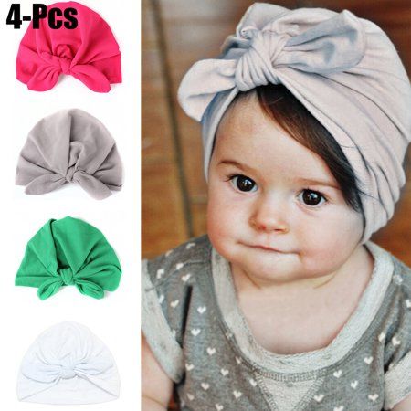 Velvet Turban - 4PCS Baby Hat, Aniwon Knot Solid Color Soft Velvet Baby Head Wrap Headband Infant Toddler Cap Turban for Newborn Girl Boy