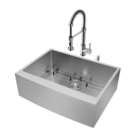 Vigo All In One 30 Farmhouse Stainless Steel Kitchen Sink And