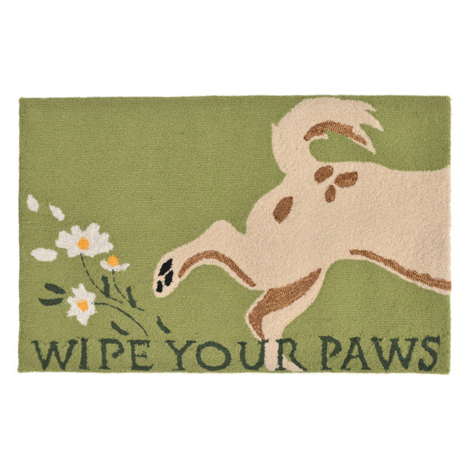 Liora Manne Frontporch 1522/06 Wipe Your Paws Green Area Rug 30 Inches X 48 Inches