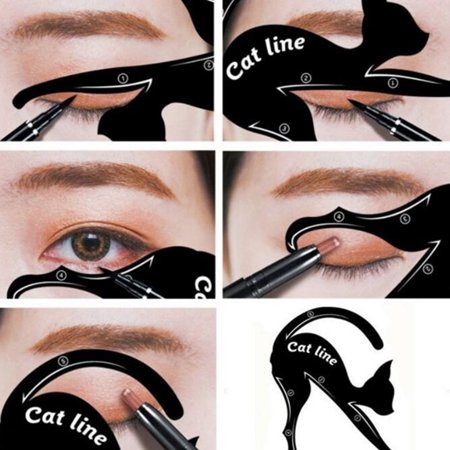 1 Pair Eyeliner Stencil Models Cat Eye Line Template Shaper Makeup Beauty Tools - Cat Halloween Eye Makeup
