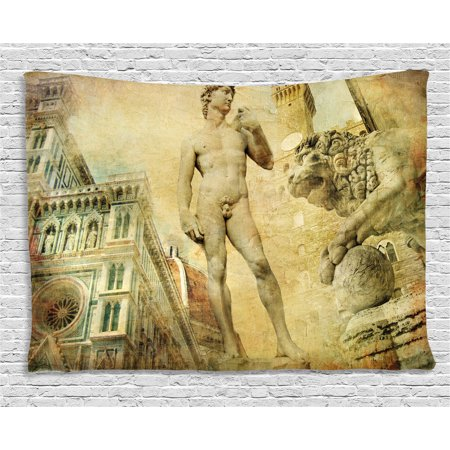 Italian Villa Tapestry - Italy Tapestry, Ancient Florence Art Collage Michelangelo David Renaissance, Wall Hanging for Bedroom Living Room Dorm Decor, 60W X 40L Inches, Pale Yellow Pale Orange Mint Green, by Ambesonne