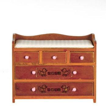 - Dollhouse Changing Table/Walnut W/Abc Design