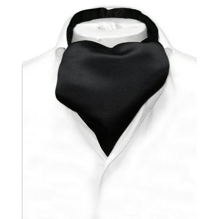 Vesuvio Napoli ASCOT Solid BLACK Color Cravat Men