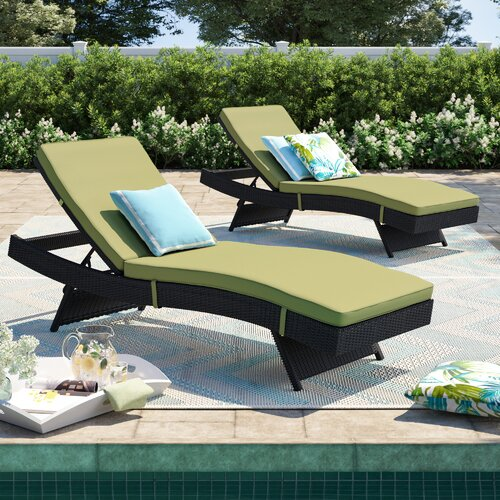 Sol 72 Outdoor Brentwood Chaise Lounge with Cushion (Set of 2)