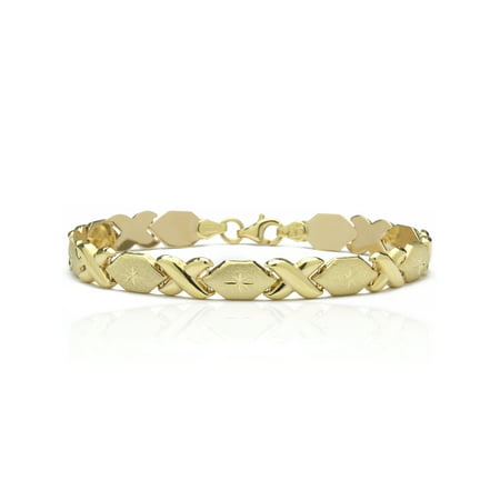 Gold Stampato Bracelet - 10k Fine Gold Stampato Xoxo Friendship and Relationship Hugs and Kisses Chain Bracelet