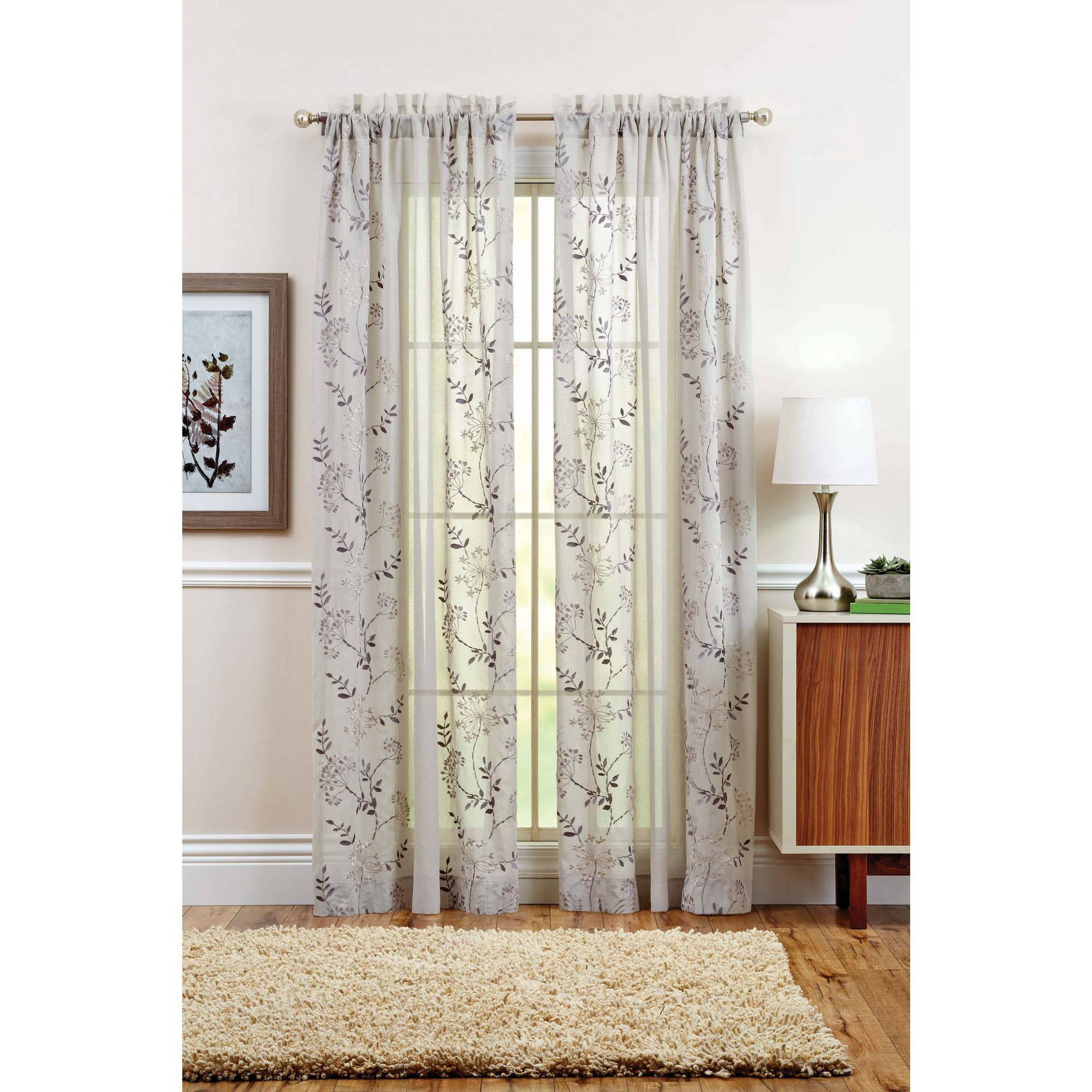 Better Homes and Gardens Garden Vines Grommet Curtain Panel, Gray by