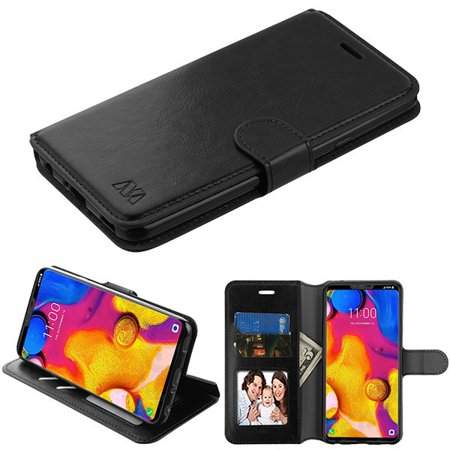 Wydan Case Compatible For LG V40 ThinQ - Leather Wallet Style Case Folio Flip Foldable Kickstand Credit Card Cover - -