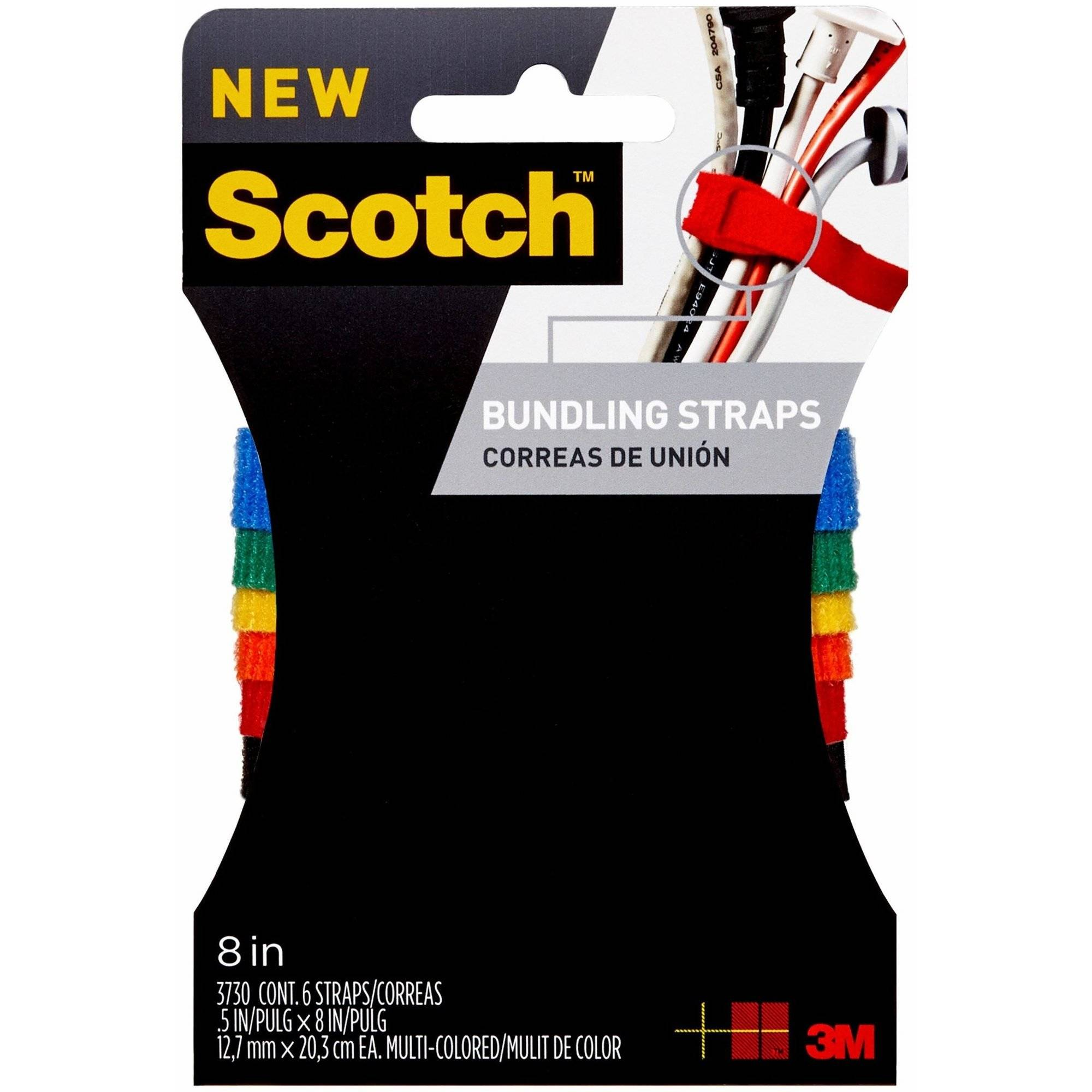 Scotch Bundling Strap, 0.5 in. x 8 i.n, Assorted Colors, 6/Pack