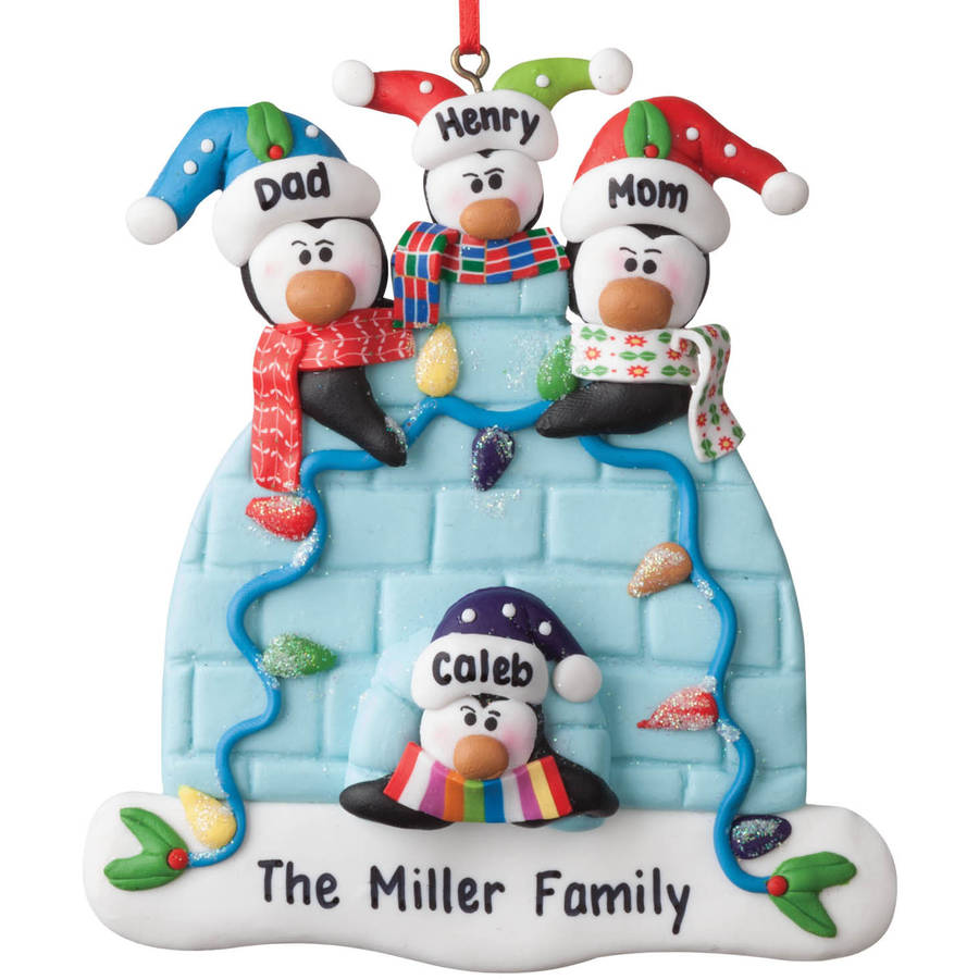 Personalized Christmas Ornament - Penguin Family of 4 Igloo