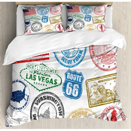 United States Duvet Cover Set, Grunge Stamps of America Las Vegas New York San Francisco Hawaii Illustration, Decorative Bedding Set with Pillow Shams, Multicolor, by Ambesonne Las Cruces Duvet Cover