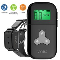 Dog Training Collar with Remote,Anti Bark Dog Trainer Collar 1000 ft Remote Control,LCD Display Rechargeable Pet Trainer Collar with 3 Training Modes, Beep, Vibration, and Shock, Black
