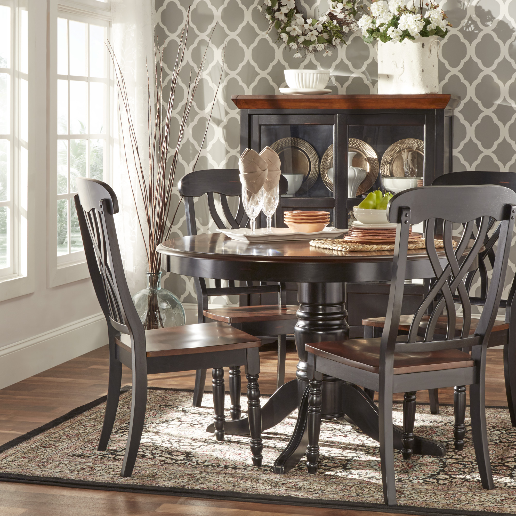 Attrayant Weston Home Two Tone 5 Piece Round Dining Set, Antique Black