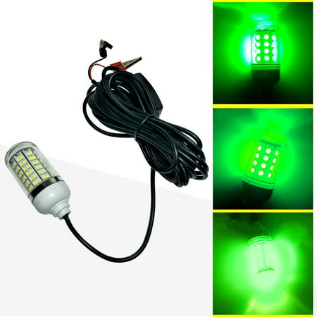 12V LED Green Underwater Submersible Night Fishing Light Crappie Shad Squid
