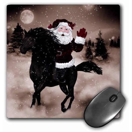 3dRose Western Themed Christmas Santa on a Horse in Burgundy and Sepia Hues, Mouse Pad, 8 by 8 inches
