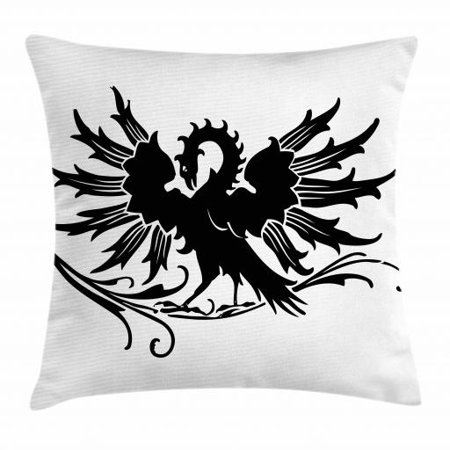 Celtic Throw Pillow Cushion Cover, Abstract Fantasy Animal Medieval Eagle Symbol for Culture and Tattoo Design, Decorative Square Accent Pillow Case, 24 X 24 Inches, Black and White, by Ambesonne Celtic Designs And Symbols