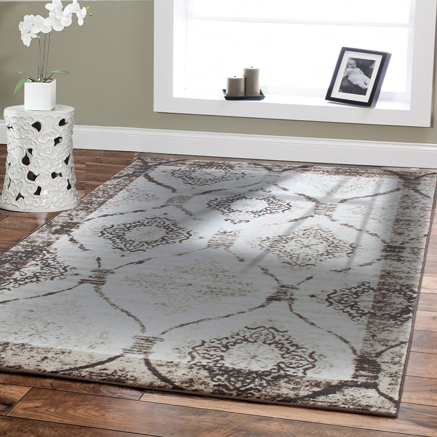 Premium High Quality Soft Brown Rugs for Living Room 5x7 Contemporary Area Rugs on Clearance 5x8 Dynamix Modern Rug