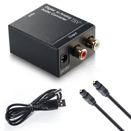 Toslink Signal Optical Coaxial Digital to Analog Audio Converter Adapter RCA L/R with Fiber