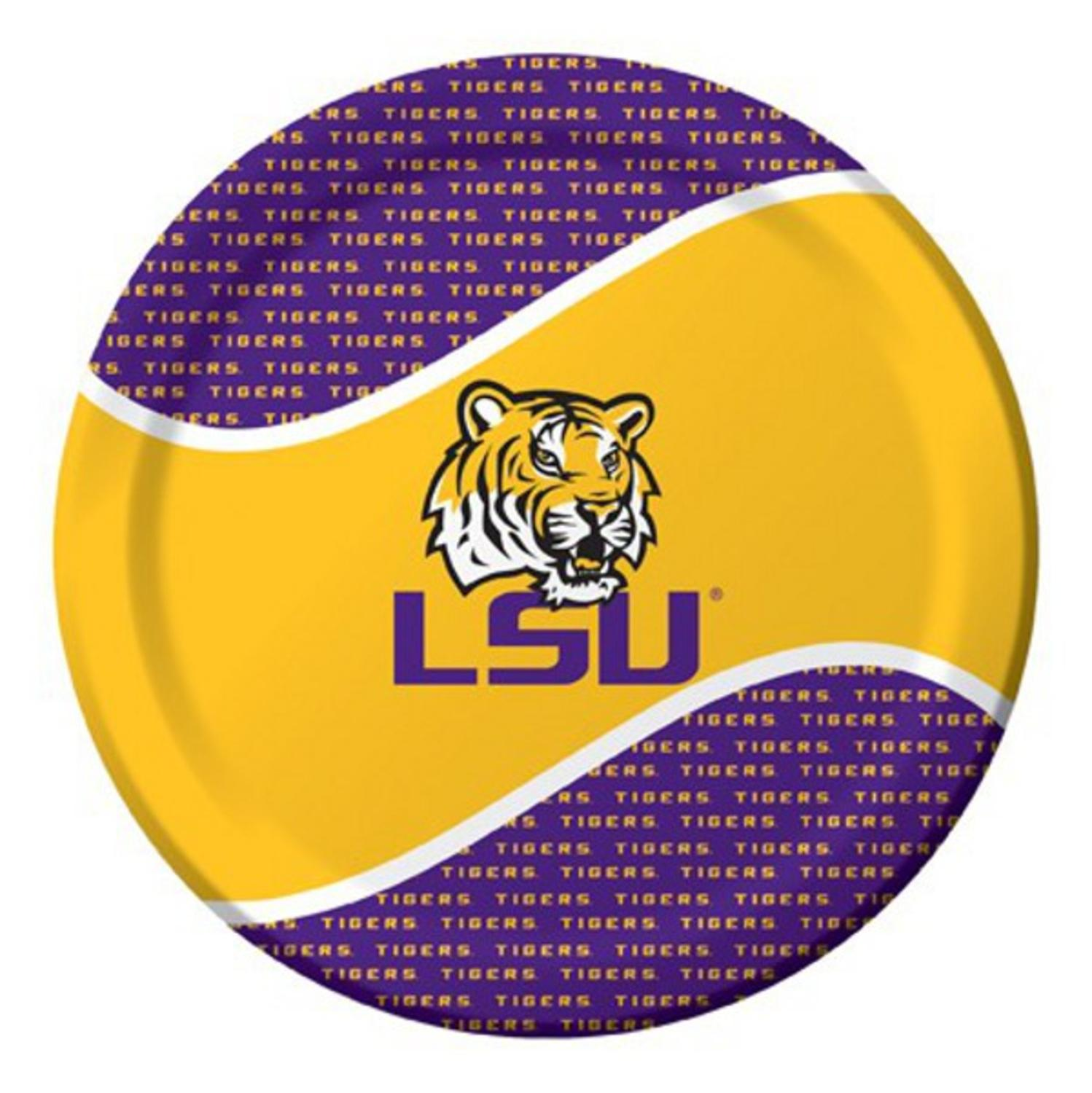 Pack of 96 NCAA LSU Tigers Round Tailgate Party Paper Dinner Plates 8.75""