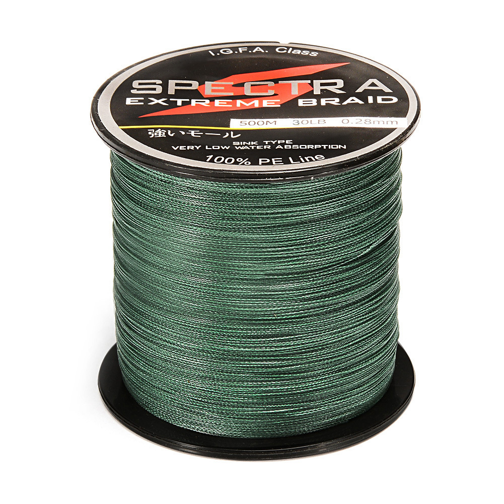100%PE Plastic Braided Fishing Line 80LB Test Moss 0.50mm Diameter 500M Length by