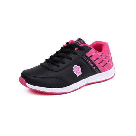 Meigar Women's Ladies' Sho-ck Absorbing Ankle Sneakers Running Trainers Non-Slip Leather Lace Up Outdoor Sports