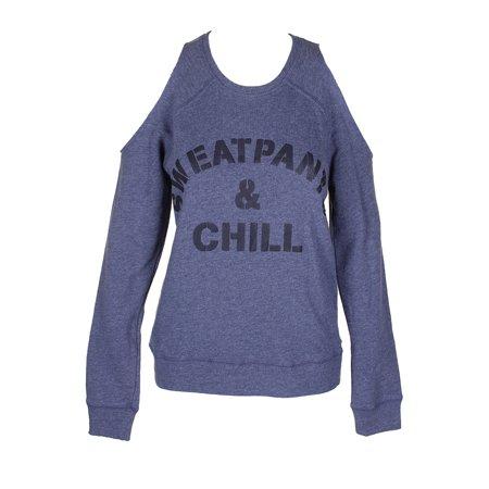 Material Girl Juniors Blue Black Sweatpants Graphic Cold-Shoulder Pullover XXS ()