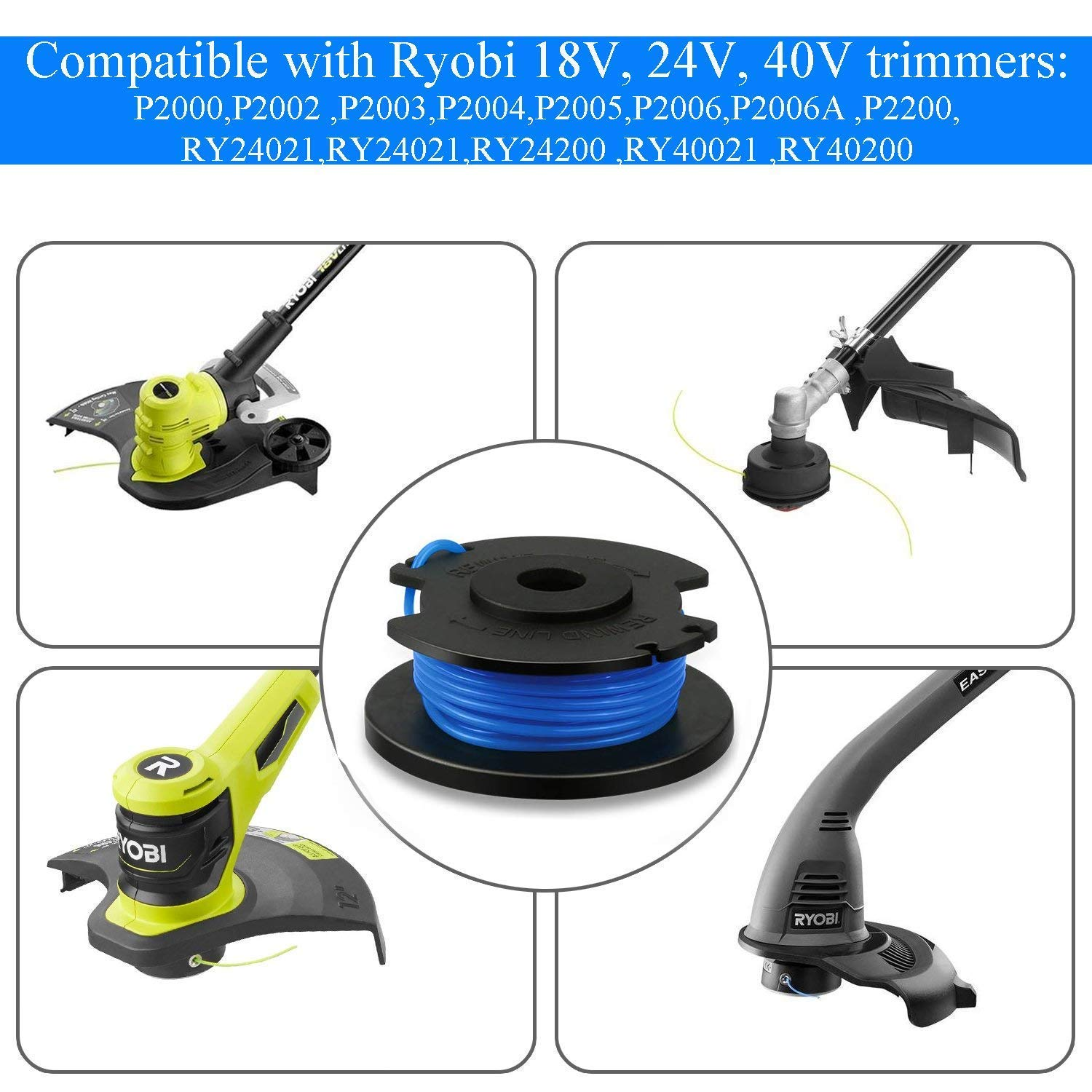0.065 In For Ryobi Spool/&Line Cord For Ryobi One+AC14RL3A Lawn Strimmer Trimmer