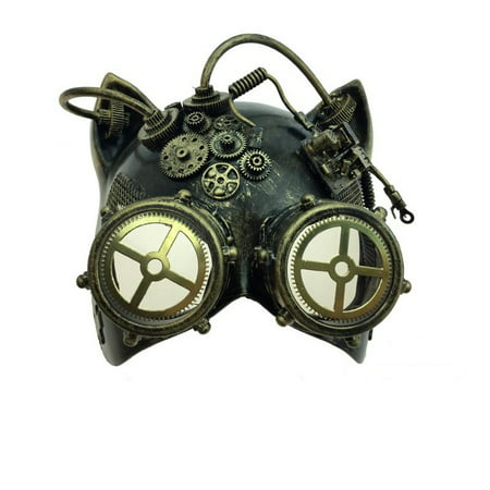 Kitty Cat Mask (Kbw Gold Steampunk Kitty Cat Women's Costume Half Mask with Goggles)