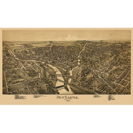 Historic Map of New Castle Pennsylvania 1896 Lawrence County Canvas Art -  (18 x (Lawrence County Vo Tech New Castle Pa)