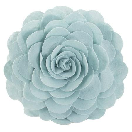 Eva's Flower Garden Decorative Throw Pillow. 13 Inch Round. (Aqua, One Size) ()