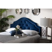 Baxton Studio Cora Modern and Contemporary Navy Blue Velvet Fabric Upholstered Queen Size Headboard