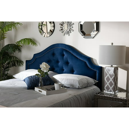 Baxton Studio Cora Modern and Contemporary Navy Blue Velvet Fabric Upholstered Queen Size Headboard ()