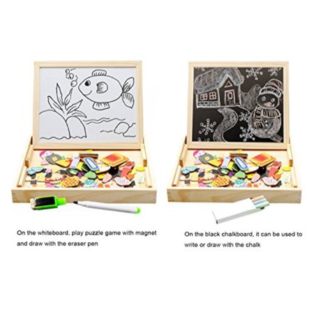 Lewo Wooden Educational Toys Magnetic Art Easel Animals Wooden Puzzles Games for Kids - image 3 of 4