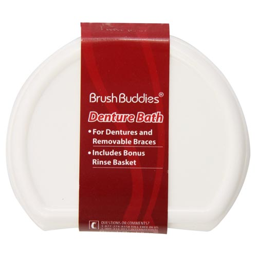 Brush Buddies Denture Bath For Dentures And Removable Braces - 1 Ea